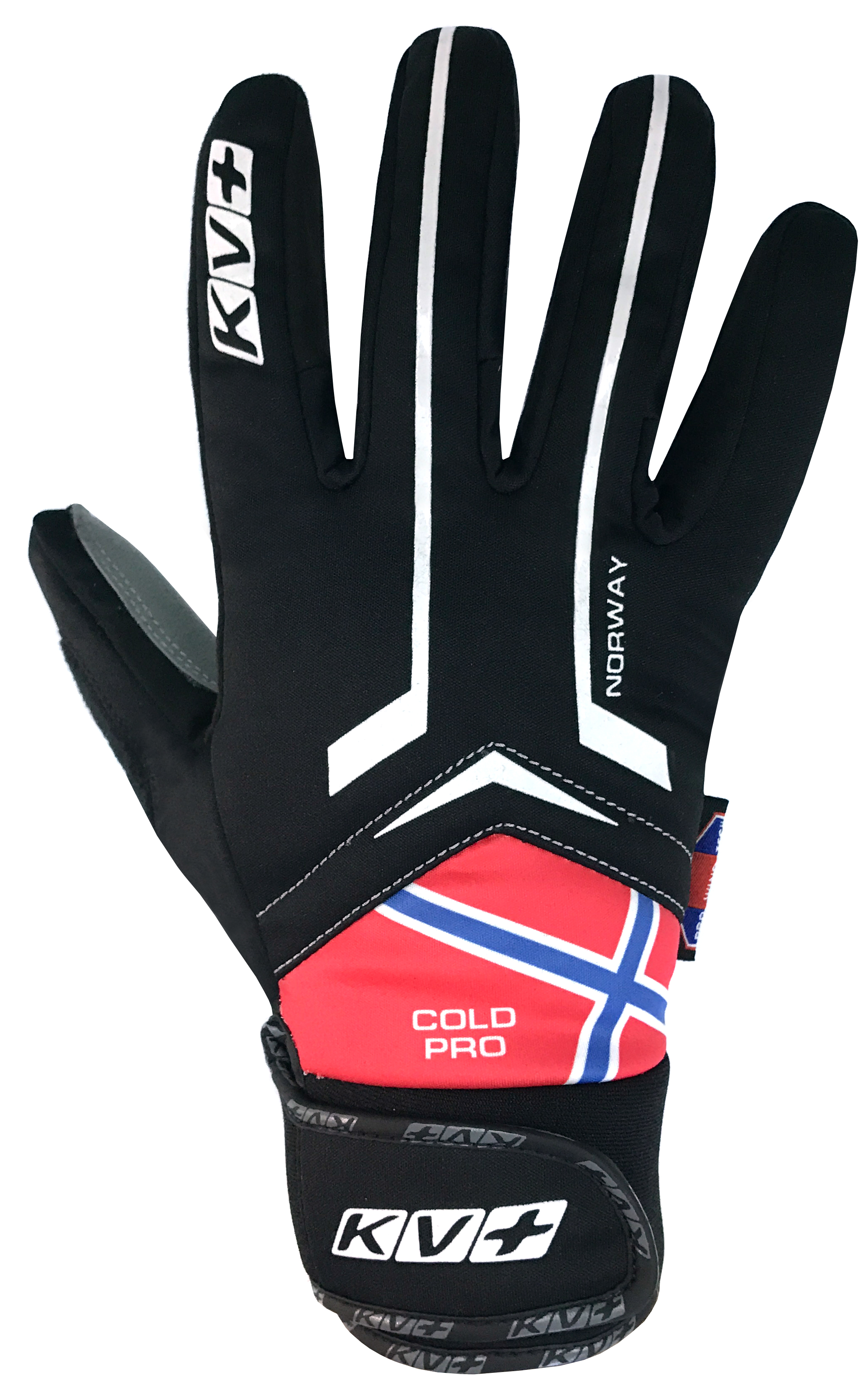 KV+ XC COLD PRO WIND TECH GLOVES NORWAY – black/red 7G05-N