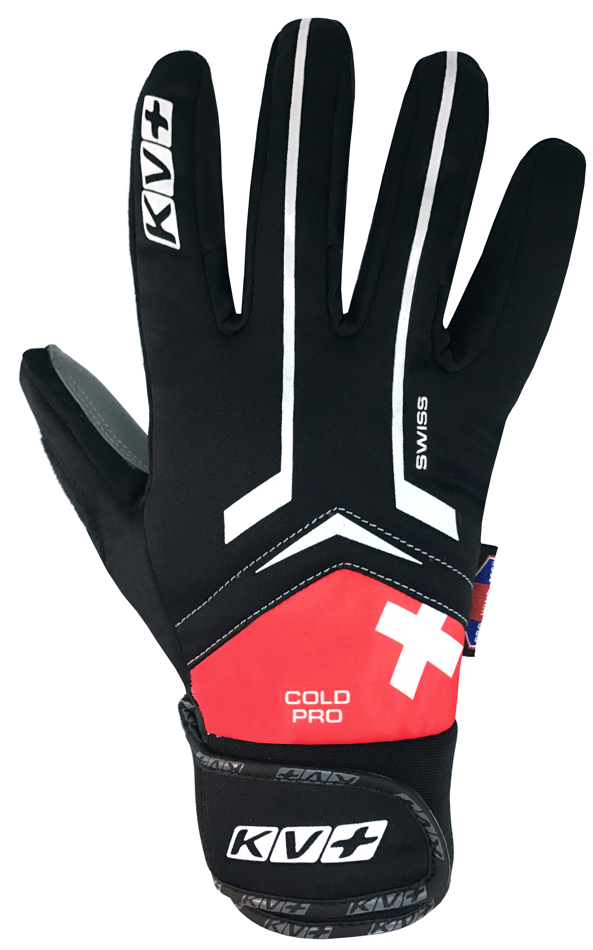 KV+ XC COLD PRO GLOVES WIND TECH SWISS – black/red 7G05-S