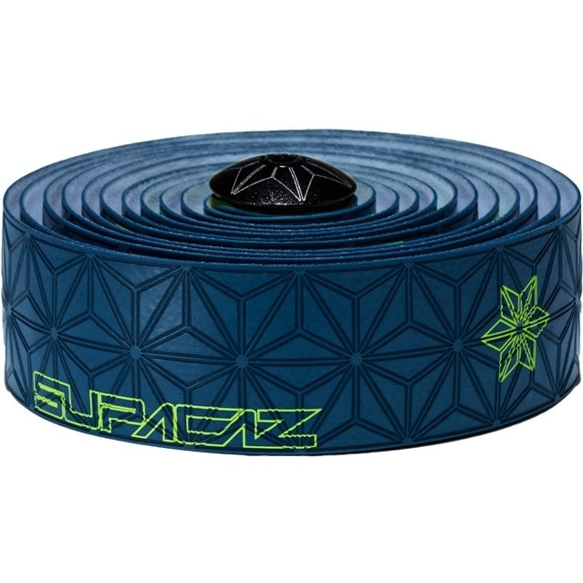 Supacaz Super Sticky Cush Print – Neon Yellow Print on Slate Blue Tape (Tinkoff)