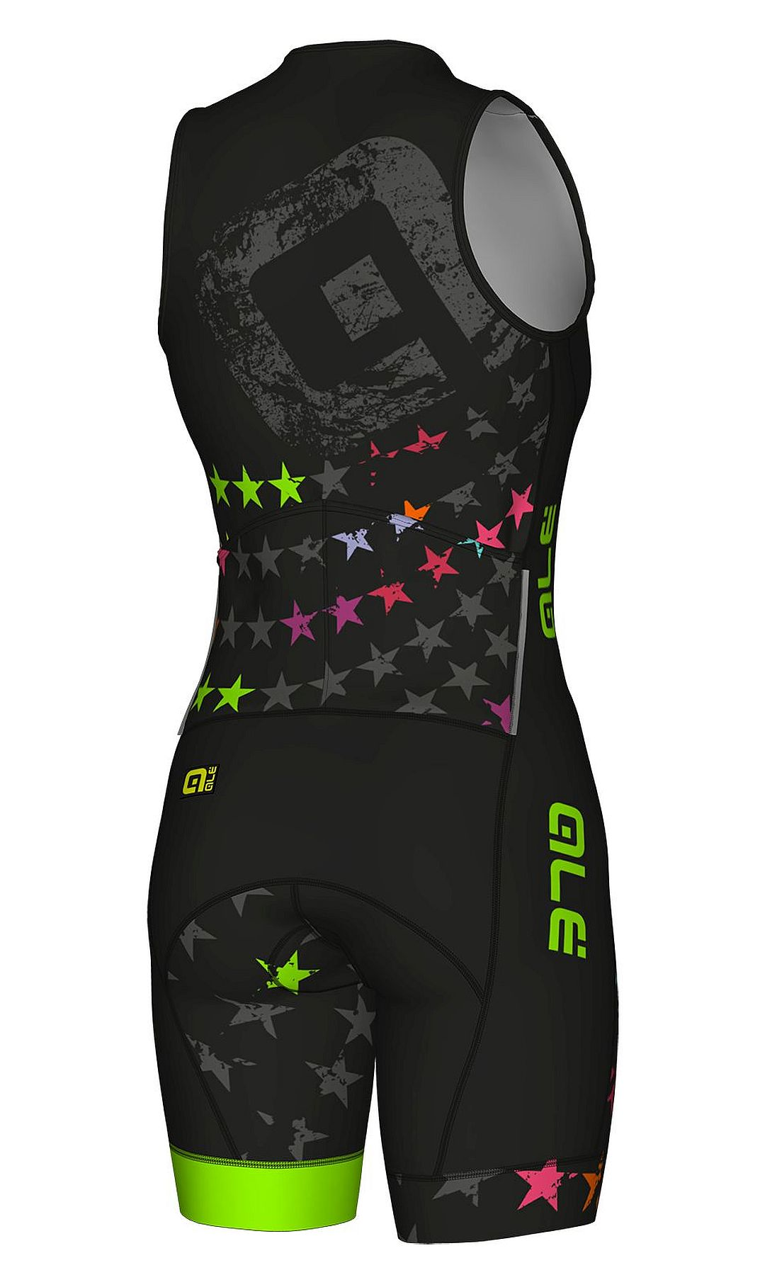 detail ALÉ LONG TRI STELLE SKINSUIT Black/Fluo Green