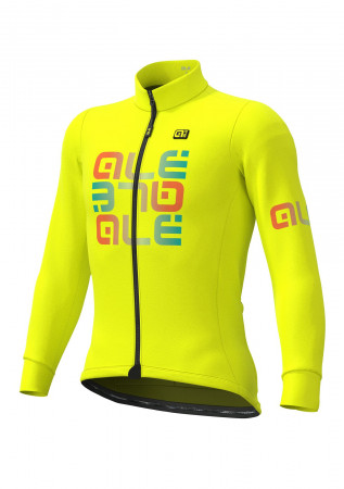 detail ALÉ SOLID MIRROR WINTER JERSEY Fluo Yellow
